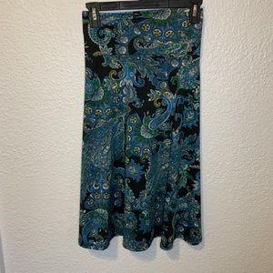 LuLaRoe Blue Allover Print Midi Azure Skirt